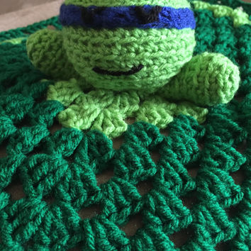Crochet Baby Lovey - Blue Ninja Turtle