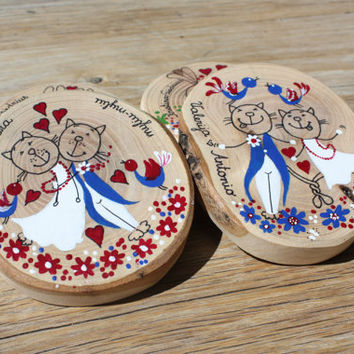 Personalized hand painted wood slice coasters - wedding or christening or anniversary gift - drink coasters