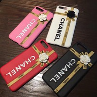 """""""Chanel"""" Women Temperament Stereoscopic Flower Embroidery Letter iPhone6/6S PU Leather Hard Shell Apple iPhone7 Plus Phone Case"""