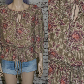 70s peasant blouse bell sleeves cintched shirt shell festival boho mod hipster floral beige purple pink brown mauve 60s s m l