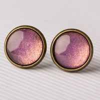 Purple-Gold Shimmer Glass Earrings
