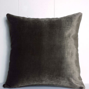 15x15, 18x18 and 20x20 Mink Brown Velvet Throw Pillow Cover