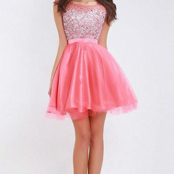 Pink Homecoming Dresses for Teen Girls Scoop Neck Sleeveless fit and flare A-Line Short Prom Dresses Party Gowns