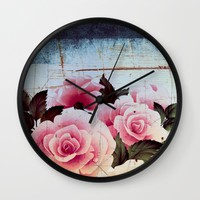 pink rose on old tile Wall Clock by Clemm