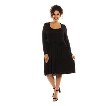 24/7 Comfort Apparel 24/7 Comfort Apparel Women's Plus Size Long Sleeve Midi Dress