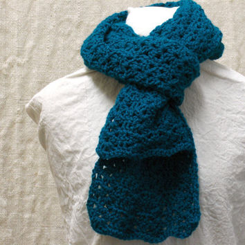 Crochet Scarf Teal Shells