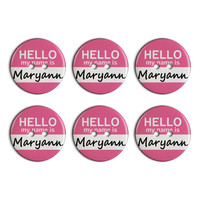 Maryann Hello My Name Is Plastic Resin Button Set of 6