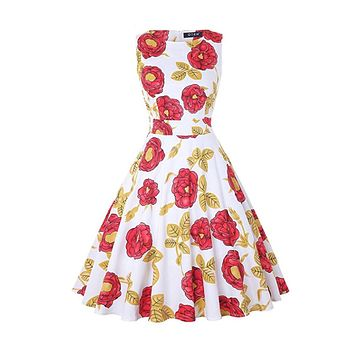 Vintage Inspired Cocktail Dress - Red White Peony, Sizes Small - 2XLarge