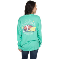 Lauren James Long Sleeve Tee- Love and Football- Seafoam