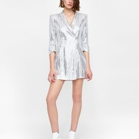 METALLIC BLAZER DRESS DETAILS