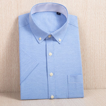 Men's Short Sleeve Slim-fit Solid Oxford Dress Shirt with Left Chest Pocket Button-down Plus Size Casual Work Shirts