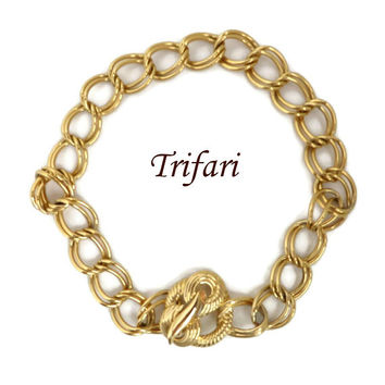 Trifari Gold Tone Chain Link Necklace, Vintage Double Link Choker