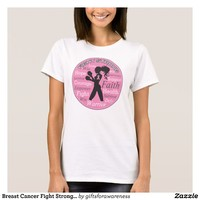 Breast Cancer Fight Strong Motto Collage T-Shirt