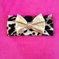 Baby Leopard Headwrap with Metallic Gold Bow