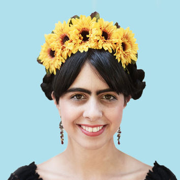 Sunflower Headband - Day of Dead Sunflower Headpiece, Sunflower Headband, Dia de Los Muertos, Frida Crown, Sunflowers, Sunflower Headband
