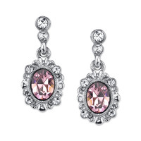 Downton Abbey Jewellery Collection Silver Tone Light Amethyst and Crystal Earrings