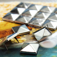 90 PCS X 9mm / 12mm / 15mm Silver Square Pyramid Spike Rivets Studs Metal Matte Finish Diy Phone Case Leather craft Deco Cabochon (SD.V)