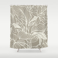 Floral Alabaster Blue Gray Shower Curtain by Beautiful Homes