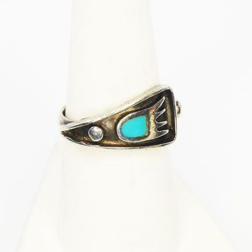 Sterling Silver By Pass Ring, Paw Print w/Inlaid Turquoise, Tribal BOHO Band, Vintage 1970s 1980s, Size 7 3/4 Native American Indian Jewelry