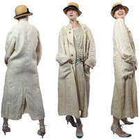 1910s to 1920s  Raw Linen Motoring Duster