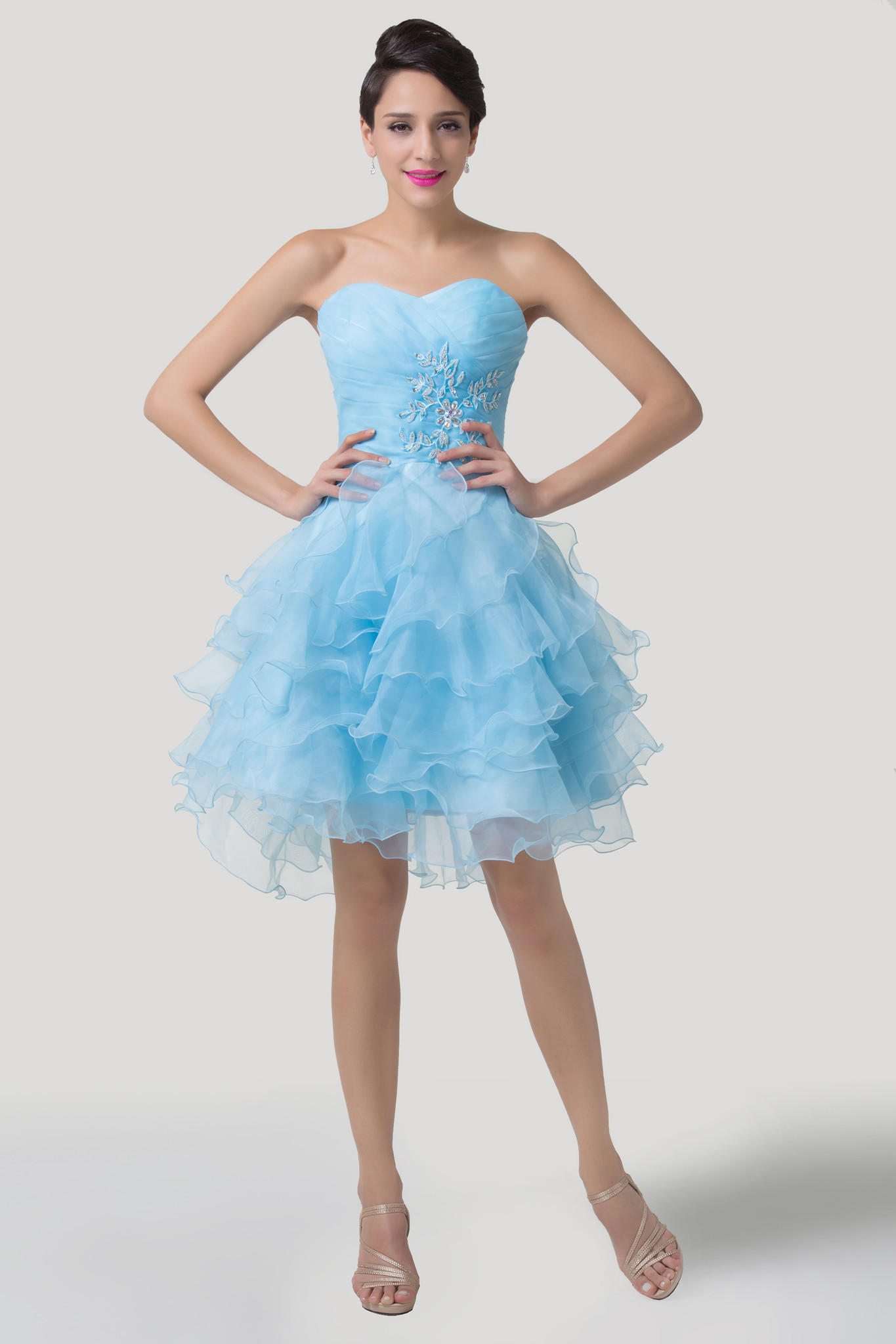 Sky Blue f Shoulder Beaded Ruffled from Graciella s