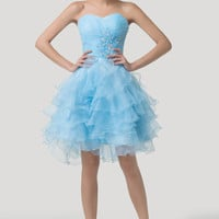 Sky Blue Off-Shoulder Beaded Ruffled Homecoming Dress