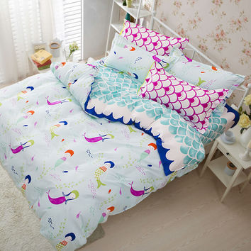 Sookie 3 Pieces Pink Bedding Sets for Girls Cute Mermaid and Scales Pattern Printed Comforter