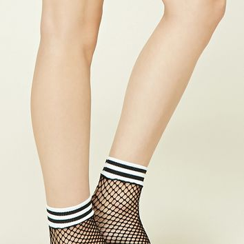 Striped Fishnet Ankle Socks