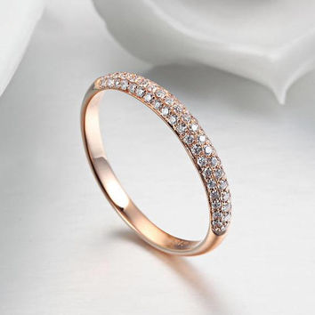 18k Rose Gold Triple Row Diamond Pave Wedding Ring Half Eternity Band Birthday Anniversary Valentine's