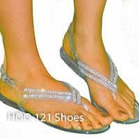 Hot Rhinestone Jelly Ankle Strap Thong Sandal*Flip Flops Beach Wedding