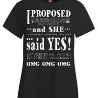 Lesbian Wedding Engagement Fun Cute Just Engaged Party Gift - Ladies T Shirt