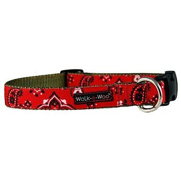 WaLk-e-Woo Bandana Dog Collar - Red