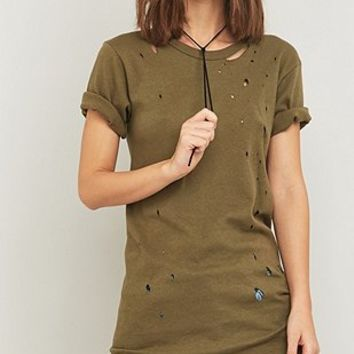 Urban Renewal Vintage Customised Nibbled Military T-shirt - Urban Outfitters