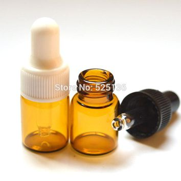 Lot of 20pcs 2ml Amber Small Glass Dropper Bottles For Essential Oil Perfume tiny portable bottles