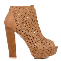 Perforated Peep Toe Lace Up Platform Camel Brown Booties