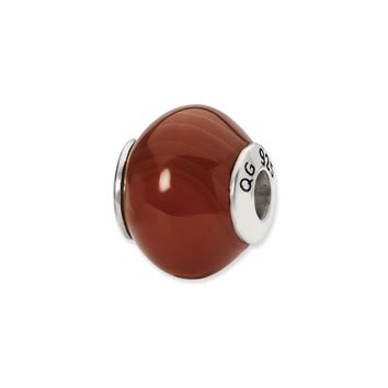 Red Brown Agate Stone Bead & Sterling Silver Charm, 15mm