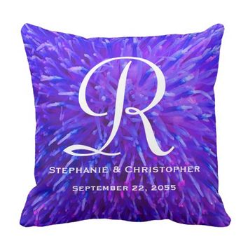 Monogram and Names Purple Abstract Floral Pillow