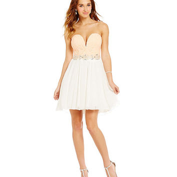 Jodi Kristopher V-Lace Bodice Party Dress | Dillards