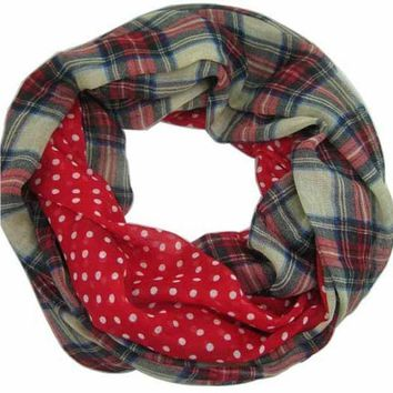 Free Shipping 2016 New Fashion Navy Beige Tartan Dotted And Plaid Check  Infinity Scarf Snood Scarves For Women /ladies9 Color