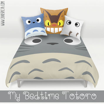 Totoro Bed Set Duvet Bedding Pillow Cover Kawaii My Neighbor Catbus Bedroom Decor Decorative Grey Blue White Anime Hayao Miyazaki Ghibli Art