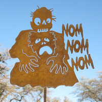 Zombie Eating Brains Nom Nom Yard Sign by zedszombieranch on Etsy