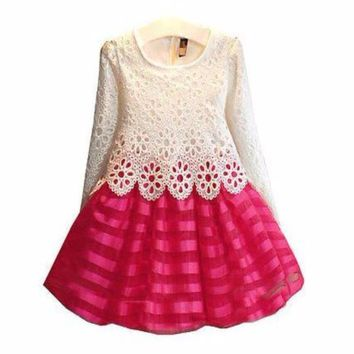 Kids Lace Crochet Pleated Dresses