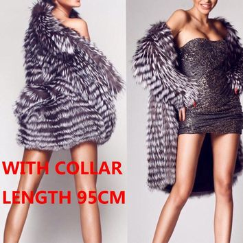 With Fox Fur Collar Silver Fur Strip Sewed Together Coat Long Design Natural Fur Winter Women Fur