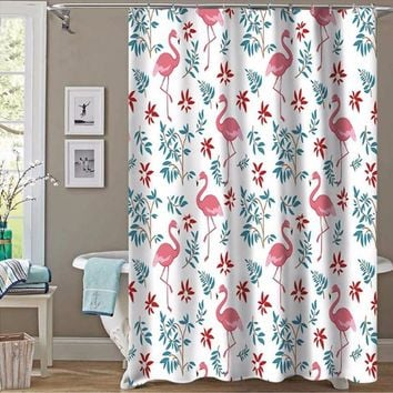 Bathroom Animal Landscape Flamingo Series Shower Curtain Does Not Fade Polyester Waterproof Curtain Curtain Set MYSC82