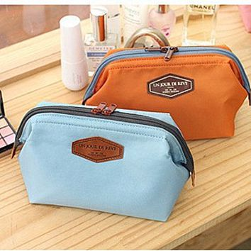 Cotton cosmetic bag Receive a bag of candy color portable steel cosmetic bag Orange Blue