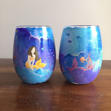 Customizable Mermaid Wine Glass: Stemless Hand Painted Drinking Glass, Candle Holder, Votive, Tumbler