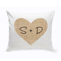 Couples Initial Burlap Heart Throw Pillow