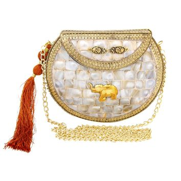 Brass Metal Hard Case Clutch with Abalone Mosaic Detail, Bronze Tassel, and Elephant