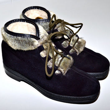 Make an Offer YODELERS Italian Leather & Faux Seal Fur Fleece Lined Fall and Winter Boots Womens sz 6 Made in Italy