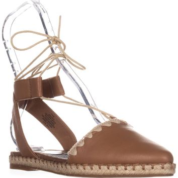 Nine West Unah Pointed Toe Flat Lace Up Sandals, Dark Natural, 7.5 US